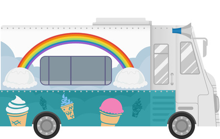 Colorful Illustration of a Food Truck That Specializes in Selling Ice Cream