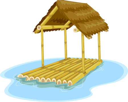 raft: Illustration Featuring a Floating Hut Attached to a Bamboo Raft Stock Photo