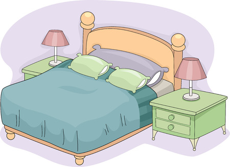 Colorful Illustration of a Double Bed with Lampshades on Both Sides Imagens