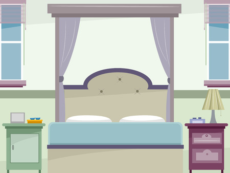 Illustration of a Whimsical Bedroom Colored in Pastel illustration