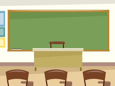 classroom chalkboard: Illustration Featuring a Clean and Empty Classroom
