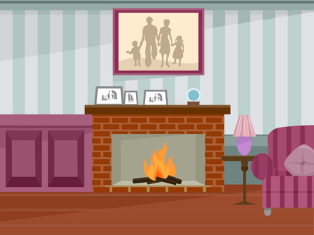 family in front of house: Illustration Featuring a Fireplace in Use