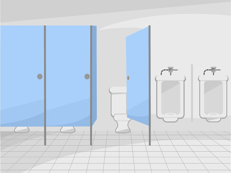 public restroom: Illustration of a Public Restroom with Cubicles and Urinals Stock Photo