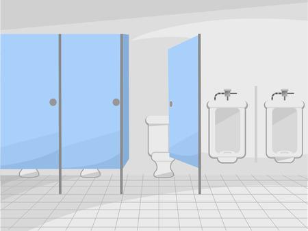 inodoro: Ilustraci�n de un ba�o p�blico con cub�culos y Urinarios