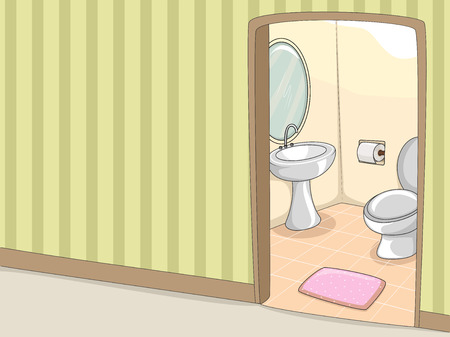 Illustration of a Toilet with an Accompanying Lavatory illustration