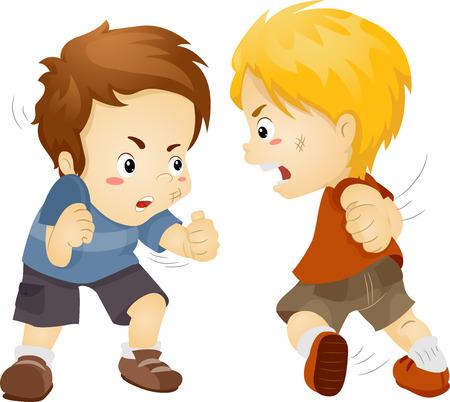 r boy: Ilustración con dos muchachos que luchan