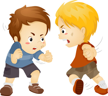 Illustration Featuring Two Boys Fighting Stock Photo
