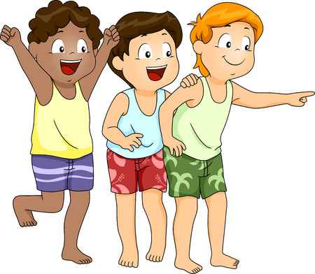 Illustration of Little Boys in Beachwear Pointing at Something Stok Fotoğraf