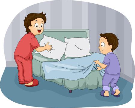 彼らのベッドを作る 2 つの小さな男の子のイラスト 写真素材