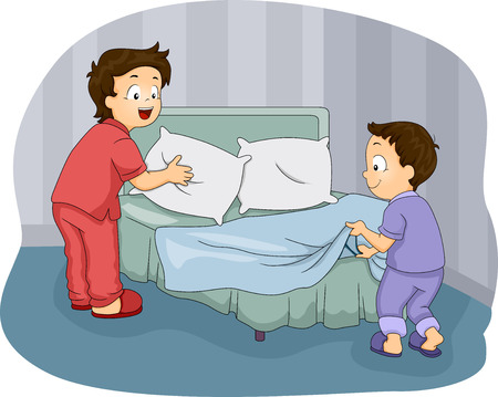 Illustration of Two Little Boys Making Their Bed Stok Fotoğraf - 28270045