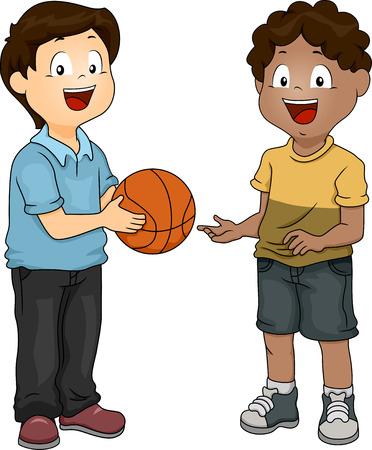 playmates: Ilustración de un niño compartiendo su baloncesto con su amigo Foto de archivo