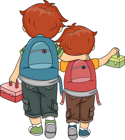 lunch box: Illustration of Brothers Walking Home Together