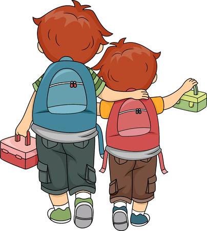 Illustration of Brothers Walking Home Together
