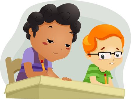 Illustration d'un petit garçon tente de copier les réponses de son voisin Banque d'images - 28270066