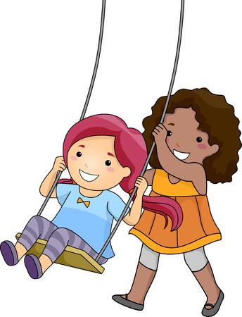 ブランコに乗る彼女の友人を押す少女のイラスト 写真素材