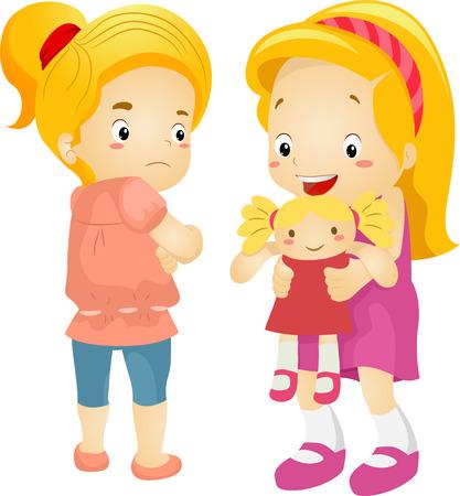 Illustration d'un jaloux Petite Fille-dessus de New poupée de Sa Playmate Banque d'images - 28270069