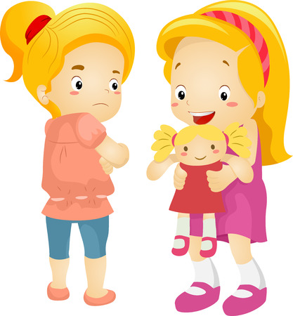 playmates: Ilustración de un celoso Niña sobre el de su compañero de juegos de Nueva Doll Foto de archivo