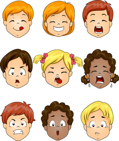 Illustration Featuring Kids Showing Different Facial Expressions illustration