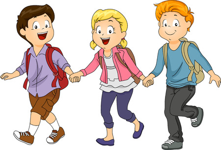 holding hands while walking: Illustration of Kids Holding Hands While Walking to School