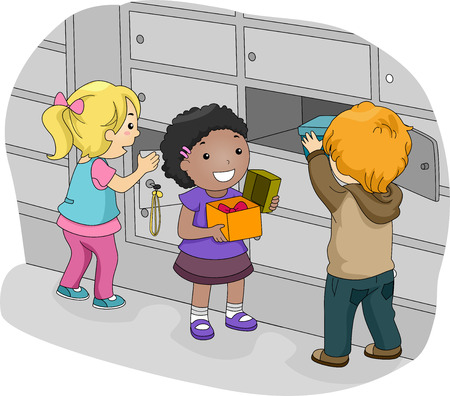 Illustration of Little Kids Putting Their Things in Their Lockers Stock Photo