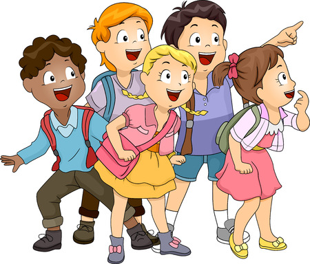 schooler: Illustration of a Group of Kids Looking Upwards at the Left Side of the Screen