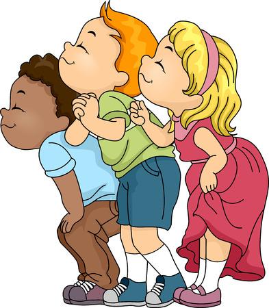 Ilustración de un grupo de niños que huelen algo Foto de archivo