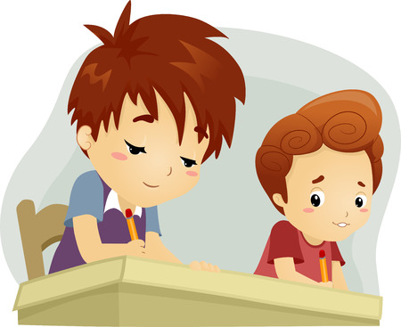 Illustration of a Little Boy Trying to Copy His Seatmates Answers