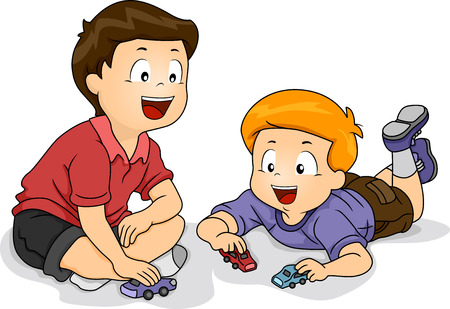 sitting on the ground: Illustration Featuring Little Boys Playing with Toy Cars Stock Photo