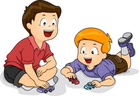 playmates: Ilustración con niños pequeños que juegan con los coches del juguete Foto de archivo