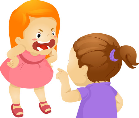 anger kid: Illustration Featuring Two Girls Fighting Stock Photo