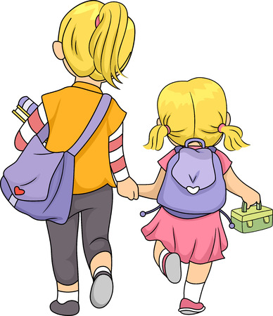 Illustration Featuring Sisters Walking Home Together illustration