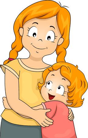 Illustration of a Little Girl Giving Her Elder Sister a Big Hug illustration