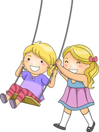 niño empujando: Ilustración de una niña empujando su hermana en un columpio