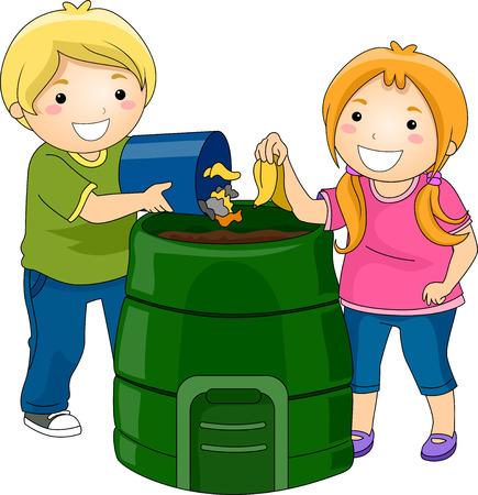 niños reciclando: Ilustración de Little Kids tirando basura en un cubo de compostaje