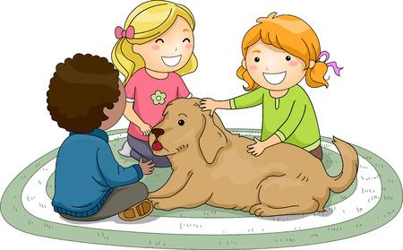 Illustration of Kids Petting a Dog