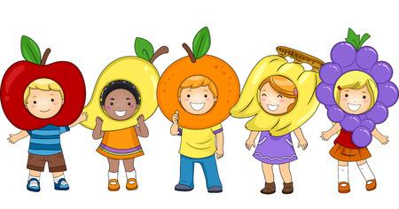Illustration of Kids Wearing Fruit-Shaped Costumes Stock Photo