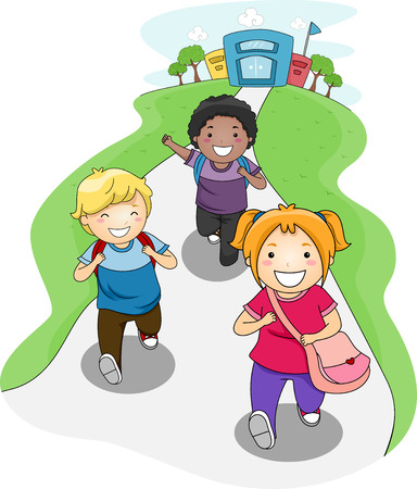 home school: Illustration of Kids Going Home From School Stock Photo