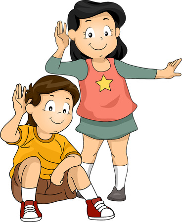 Illustration of Little Kids with Their Hands Pressed Against Their Ears While Listening to Something illustration