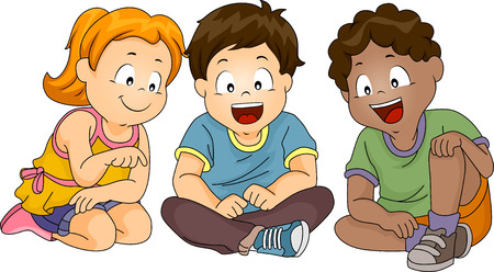 Illustration of a Group of Kids Looking Down While Sitting Imagens