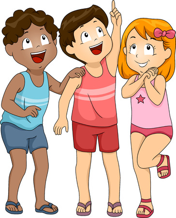 Illustration of Kids in Beachwear Looking Upwards illustration