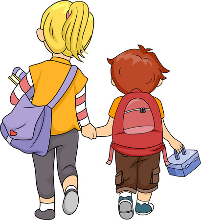 Illustration of a Big Sister Walking Home with Her Little Brother illustration