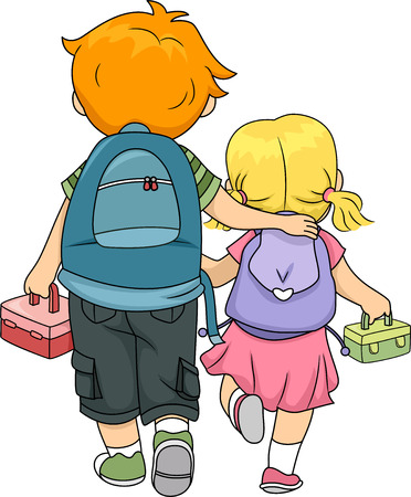 family clip art: Illustration of a Big Brother Walking Home with His Little Sister