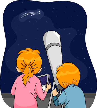 rear view girl: Illustration of Kids Using a Telescope to Observe a Comet