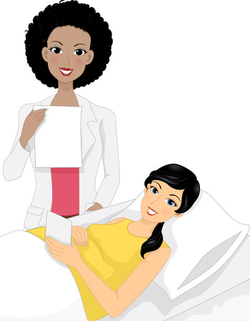 discussing: Illustration of an Ob-Gyne Discussing the Result of the Ultrasound with Her Pregnant Patient