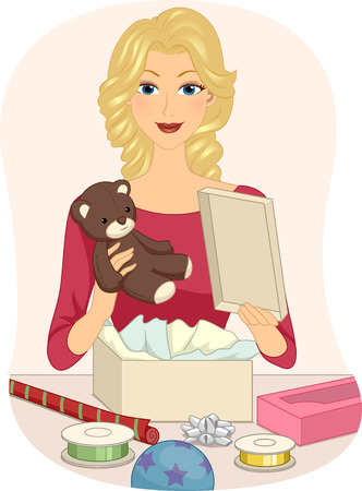 Illustration of a Girl Wrapping a Teddy Bear to Send Out as a Gift illustration