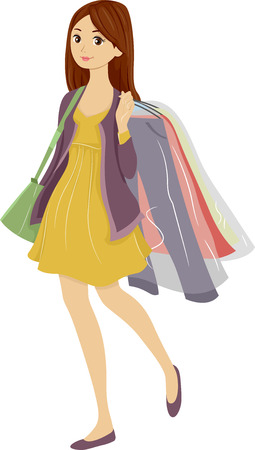 picked: Illustration of a Teenager Carrying Clothes She Picked Up from the Dry Cleaners
