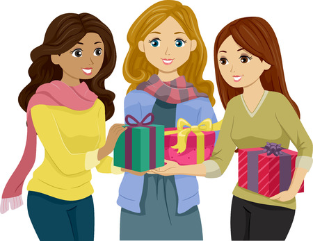 exchanging: Illustration of Girls in Winter Clothes Exchanging Gifts Stock Photo