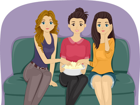 pretty teenage girl: Illustration of a Group of Female Teenagers Watching Movie Together