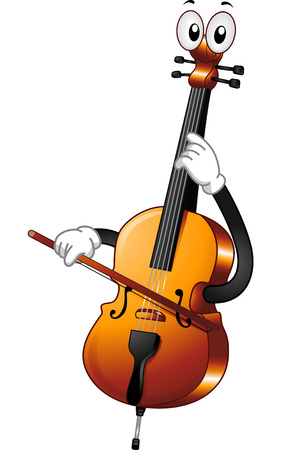 cartoonize: Mascot Illustration Featuring a Cello Fiddling with its Strings Stock Photo