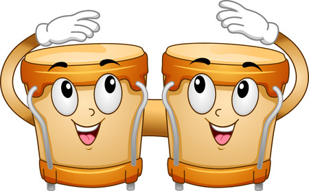 Mascot Illustration of a Pair of Bongos Tapping Themselves